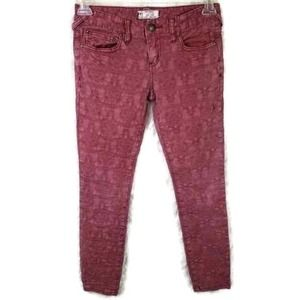 Free People Rustic Pink Crinkled Lace Pattern Ankle Skinny Jeans Size 26